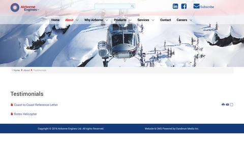 Screenshot of Testimonials Page airborneengines.com - Testimonials - captured Nov. 20, 2016