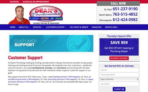 Screenshot of Support Page deansplumbing.com - Customer Support   Dean's Plumbing - captured Nov. 24, 2016