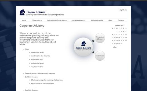 Screenshot of Services Page ficomleisure.com - Corporate Advisory  –   Ficom Leisure - captured Oct. 5, 2014