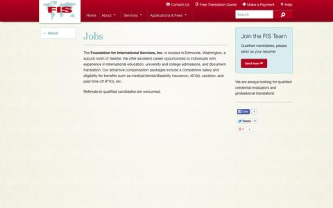Screenshot of Jobs Page fis-web.com - Current Job Openings for Credential Evaluators and Translators | Seattle WA - captured Oct. 6, 2014