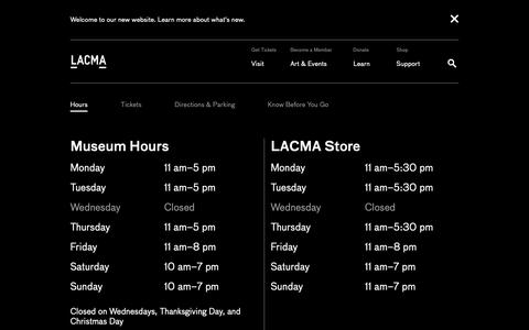 Screenshot of Hours Page lacma.org - Hours | LACMA - captured Feb. 14, 2019