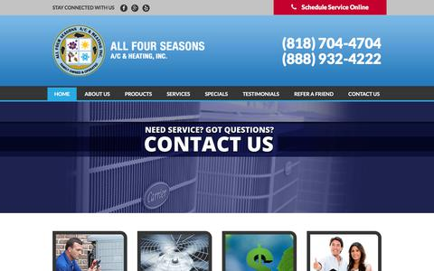 Screenshot of Home Page allfourseasons.com - Air Conditioning & Heating Service Agoura Hills, Thousand Oaks & Oak Park - captured Oct. 8, 2017