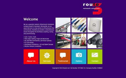 Screenshot of Home Page route3.co.uk - Route3 - Network Solutions - captured Oct. 7, 2014