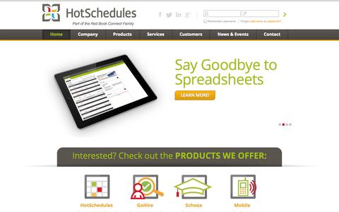Screenshot of Home Page hotschedules.com - HotSchedules: Online Employee Scheduling, Paperless Hiring, eLearningHotSchedules - captured Sept. 18, 2014
