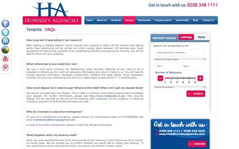Screenshot of FAQ Page hornseyagencies.com - FAQs - captured Sept. 30, 2014