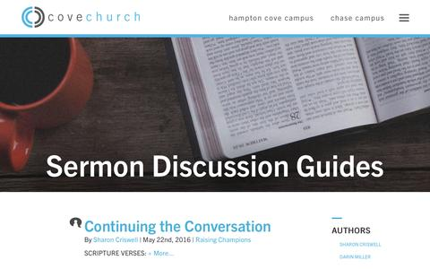 Screenshot of Blog covechurch.com - Cove Church: Sermon Discussion Guides - captured July 16, 2016