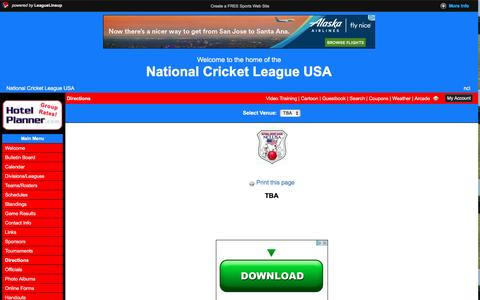 Screenshot of Maps & Directions Page leaguelineup.com - National Cricket League USA - (COLLEGE PARK, GA)  - powered by LeagueLineup.com - captured Nov. 28, 2016