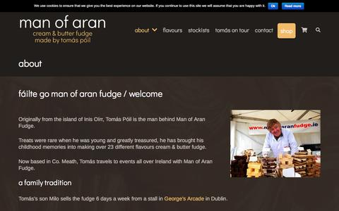 Screenshot of About Page manofaranfudge.ie - About Man of Aran Fudge - captured July 27, 2018