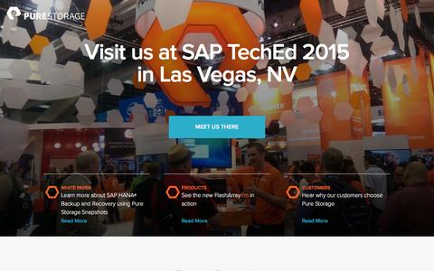 Screenshot of Landing Page purestorage.com - Pure Storage | SAP TechEd Las Vegas - captured March 15, 2016
