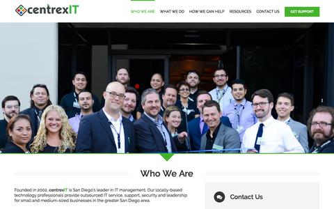 Screenshot of About Page centrexit.com - Who We Are | San Diego's Leader in IT Management and IT Consulting | centrexIT - captured March 17, 2016