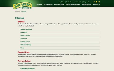 Screenshot of Site Map Page shearers.com - Shearer's Sitemap | Find Potato Chips & Snack Foods - captured Jan. 23, 2016