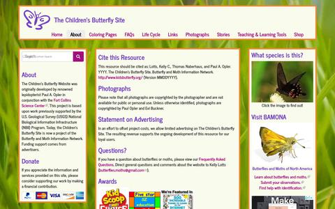 Screenshot of About Page kidsbutterfly.org - The Children's Butterfly Site - captured Oct. 18, 2018