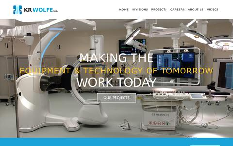 Screenshot of Home Page krwolfe.com - Commercial Construction, Systems Installation & Integration KR Wolfe, Inc. - captured Oct. 14, 2018