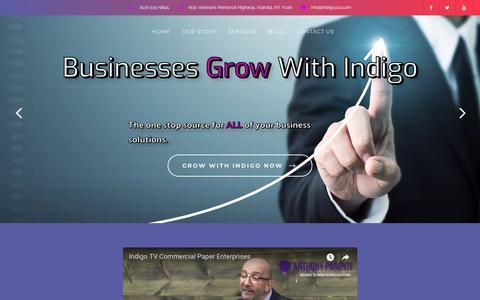 Screenshot of Home Page indigousa.com - Home - Indigo Business Solutions - captured Oct. 11, 2018