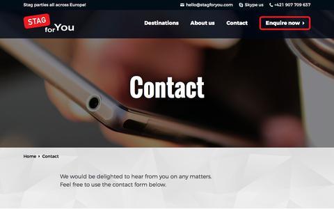 Screenshot of Contact Page stagforyou.com - Contact - StagForYou - captured Sept. 21, 2018