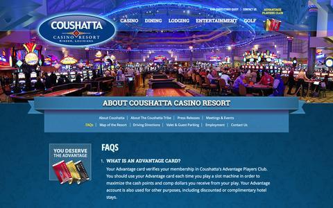 Screenshot of FAQ Page coushattacasinoresort.com - FAQs - Coushatta Casino Resort - captured July 16, 2016
