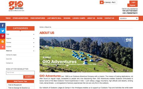 Screenshot of About Page gio.in - About Us – Adventure Trips and Trekking Tour Company   GIO Adventures - captured Sept. 23, 2018