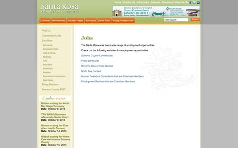 Screenshot of Jobs Page santarosachamber.com - Jobs - captured Oct. 4, 2014