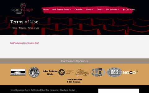 Screenshot of Terms Page openstage.com - Terms of Use | OpenStage Theatre & Company - captured Oct. 19, 2018