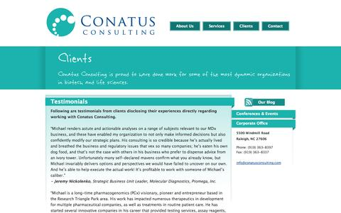 Screenshot of Testimonials Page conatusconsulting.com - Conatus Consulting - Biotechnology, Pharmaceutical, Medical Device and Life Sciences Consulting - captured Oct. 2, 2014