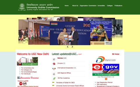 Screenshot of Home Page ugc.ac.in - Welcome to UGC, New Delhi, India - captured March 2, 2016