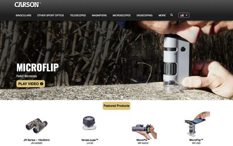 Screenshot of Home Page carson.com - Manufacturer of High Performance Binoculars, Telescopes, Microscopes and Magnifiers - captured Jan. 11, 2020
