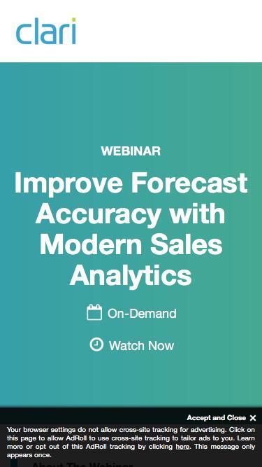 Webinar: Improve Forecast Accuracy with Modern Sales Analytics