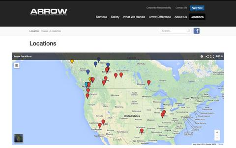 Screenshot of Locations Page arrow.ca - Locations - captured Oct. 4, 2014