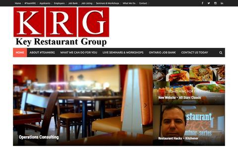 Screenshot of Home Page keyrestaurantgroup.com - Consultant & Development Agency - captured Jan. 9, 2016