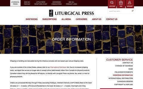 Screenshot of Support Page litpress.org - Order Information - captured Sept. 29, 2018