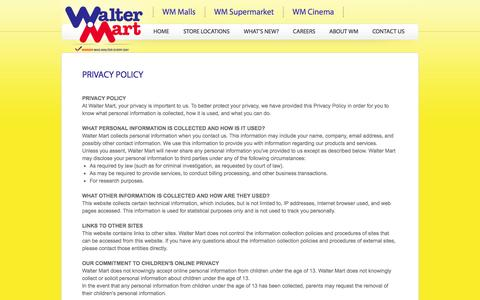 Screenshot of Privacy Page waltermart.com.ph - Walter Mart - Privacy Policy - captured Oct. 27, 2014