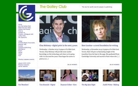 Screenshot of Home Page galleyclub.co.uk - The Galley Club | The not-for-profit club for people in publishing - captured Sept. 13, 2015