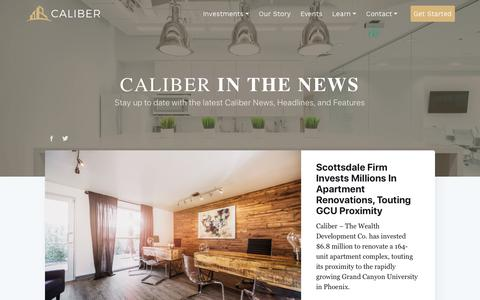 Screenshot of Press Page caliberco.com - News - Articles - captured Sept. 29, 2018