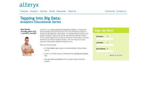 Screenshot of Landing Page alteryx.com - Alteryx, Inc. - captured Feb. 11, 2016