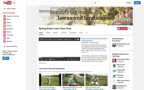 Screenshot of YouTube Page youtube.com - Spring-Green Lawn Care Corp.  - YouTube - captured Nov. 1, 2014