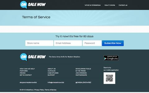 Screenshot of Terms Page onsalenow.biz - Terms of Service - captured Oct. 26, 2014
