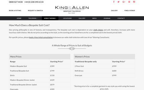 Screenshot of Pricing Page kingandallen.co.uk - Bespoke Suit Cost   King & Allen Tailors - captured Nov. 27, 2016