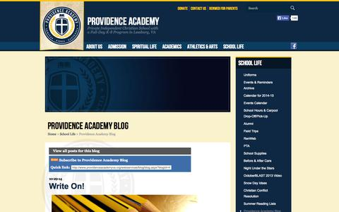 Screenshot of Blog providenceacademyva.org - Providence Academy Blog (School Life) - captured Nov. 2, 2014