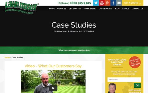 Screenshot of Case Studies Page lawnmaster.co.uk - Lawn Master Reviews, Customer Testimonials and Case Studies - captured July 12, 2016