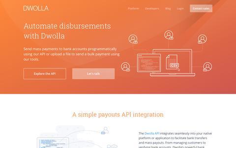 Screenshot of dwolla.com - Send Mass Payments using our API or tools - captured Dec. 30, 2017