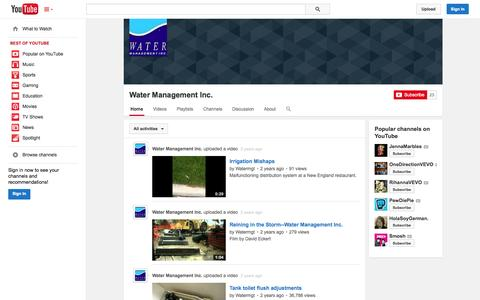 Screenshot of YouTube Page youtube.com - Water Management Inc.  - YouTube - captured Oct. 27, 2014