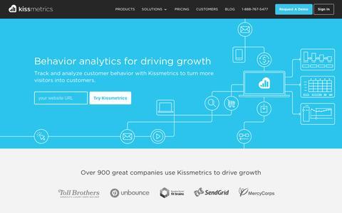Screenshot of Home Page kissmetrics.com - Customer Intelligence & Web Analytics   Kissmetrics - captured Nov. 15, 2016