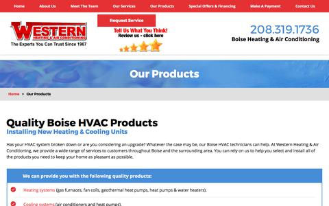 Screenshot of Products Page westernhvac.com - Our Products   Boise HVAC Products - captured Oct. 20, 2017