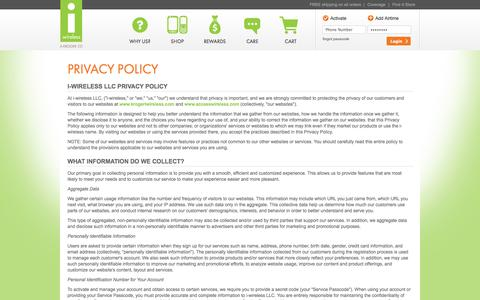 Screenshot of Privacy Page krogeriwireless.com - Privacy Policy - Prepaid Cell Phones, No Contract Plans | i-wireless - captured Sept. 19, 2014