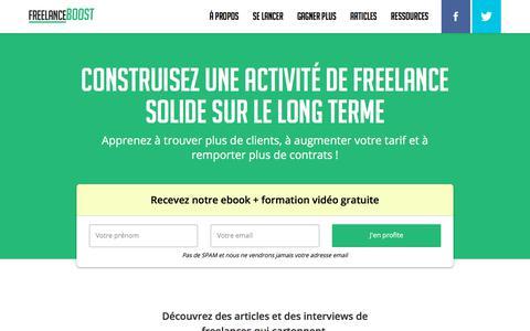 Screenshot of Home Page freelanceboost.fr captured Sept. 23, 2018