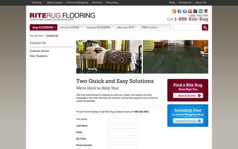Screenshot of Contact Page riterug.com - Contact Us - captured Oct. 26, 2014