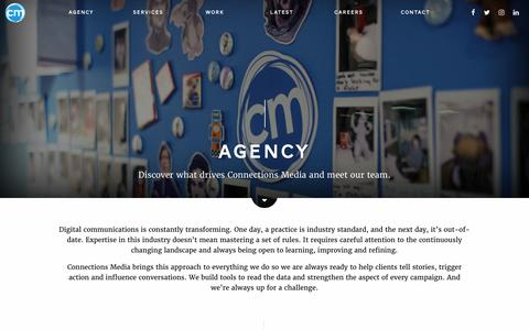Screenshot of Team Page connectionsmedia.com - Agency - captured Sept. 29, 2018