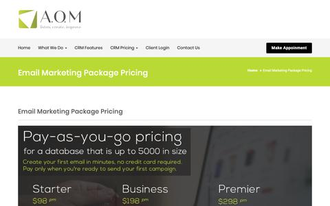 Screenshot of Pricing Page andersonom.co.za - Email Marketing Package Pricing – AOM - captured Oct. 2, 2018