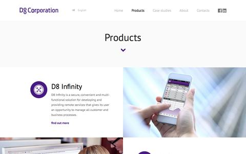 Screenshot of Products Page d8corporation.com - Products - captured Sept. 30, 2014