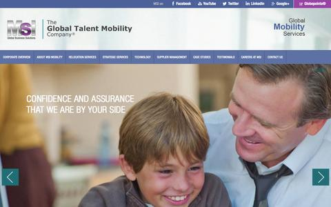 Screenshot of Home Page msimobility.com - MSI | The Global Talent Mobility Company - captured Jan. 14, 2016